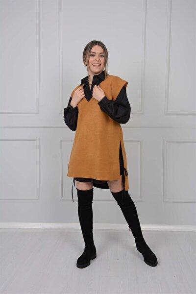 Gömlek Kazak Takım - Taba/siyah