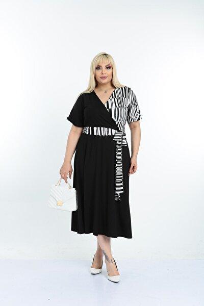 Kadın Siyah Beyaz Desenli Kruvaze Yaka Büyük Beden Elbise