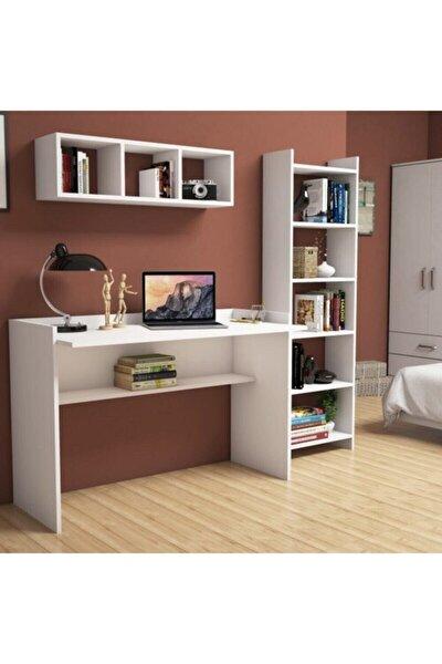 Hürrem Beyaz Çalışma Masası Kitaplık Raflı 118 Cm U7040