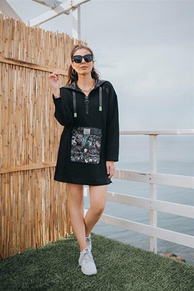 Tasarım Kapşonlu Baskılı Kadın Sweat Elbise Siyah