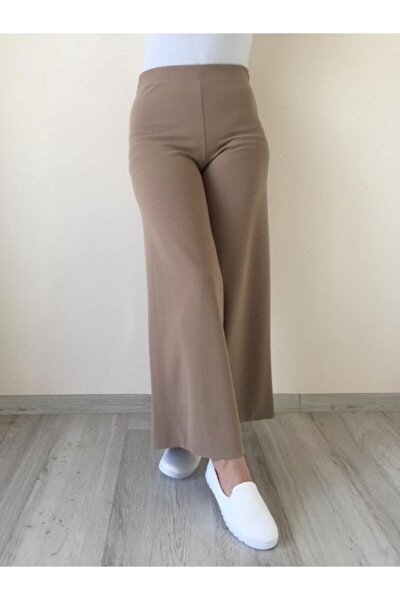 Yüksek Bel Beli Lastikli Bol Paça Pantolon
