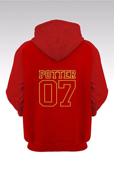 Unisex Kırmızı Harry Potter Gryffindor 56 Kırmızı Kapüşonlu Sweatshirt