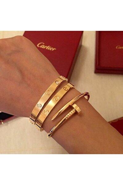 Kadın Gold Cartier ve Çivi Kombin Bileklik