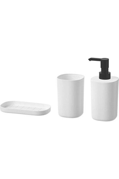 Storavan Banyo Aksesuar Seti  Sıvı Sabunluk Katı Sabunluk Diş Fırçalık 3lü Set