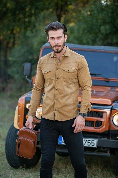 Erkek Hardal Cepli Likralı Kot Gömlek N6012