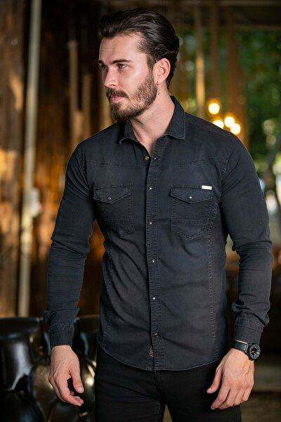 Erkek Siyah Cepli Likralı Kot Gömlek N6012