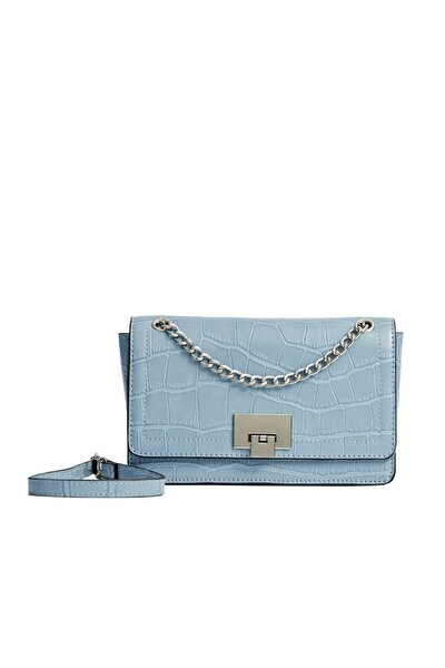 Kadın Mavi Timsah Derisi Görünümlü Çapraz Askılı Çanta 00526001