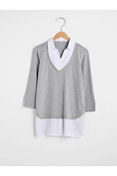 Kadın Gri Melanj Tişört