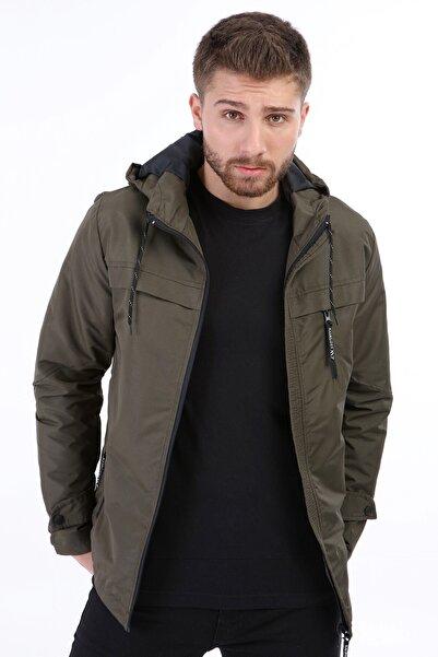 Erkek Haki Kapüşonlu Mevsimlik Ceket