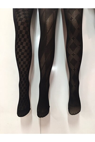 Kadın Desenli Kilotlu Çorap 3lü