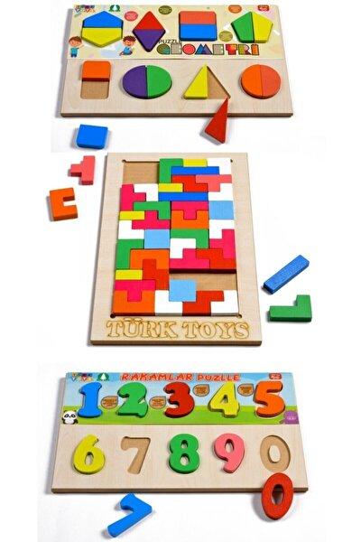 Ahşap Puzzle 3'ü 1 Arada Tetris-geometri-sayılar Hy0001