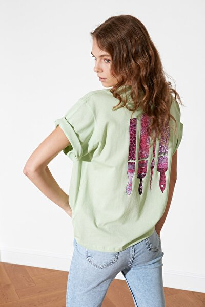 Mint Baskılı Boyfriend Örme T-Shirt TWOSS20TS0912