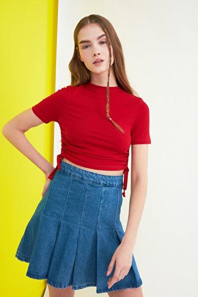 Kırmızı Büzgülü Örme Bluz TWOSS21BZ0180