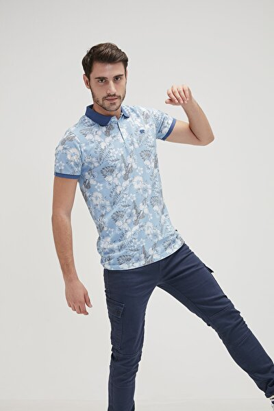 Erkek Mavi Polo Yaka Spor Tshirt