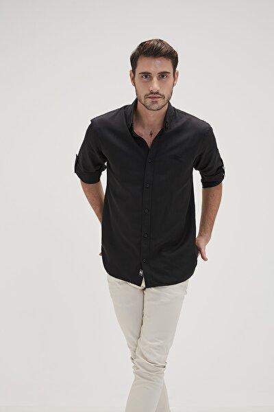 Siyah Erkek Gömlek Oxford Shırt Nıght