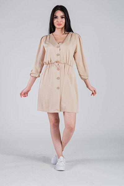 Kadın Taş Önden Düğmeli Beli Lastikli Elbise