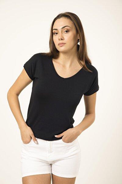 Kadın Siyah V Yaka Basic T-shirt