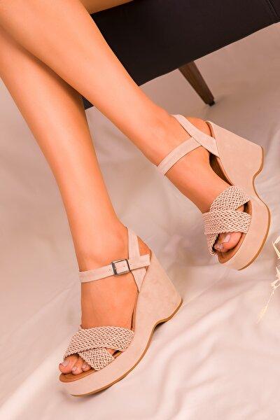 Vizon Süet Kadın Dolgu Topuklu Ayakkabı 15938