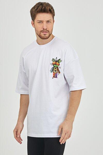 Beyaz Önür & Arkası Baskılı Oversize T-shirt 1kxe1-44624-01