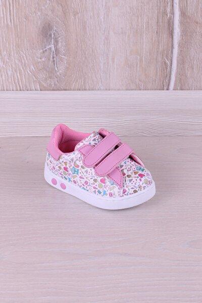 Antibakteriyel Ortopedik Baskılı Ilk Adım Çocuk Ayakkabı Pembe Beyaz