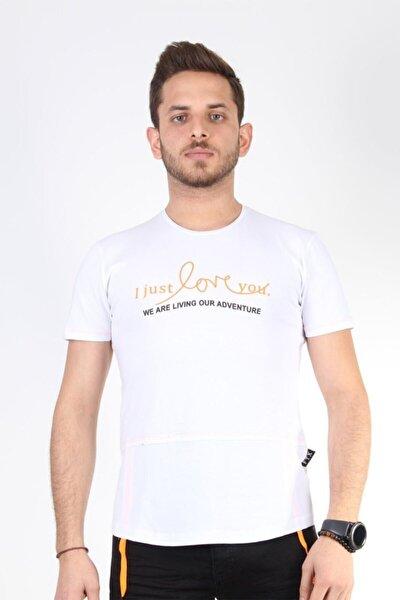 Beyaz Yuvarlak Yaka Yazılı Ip Detaylı T-shirt