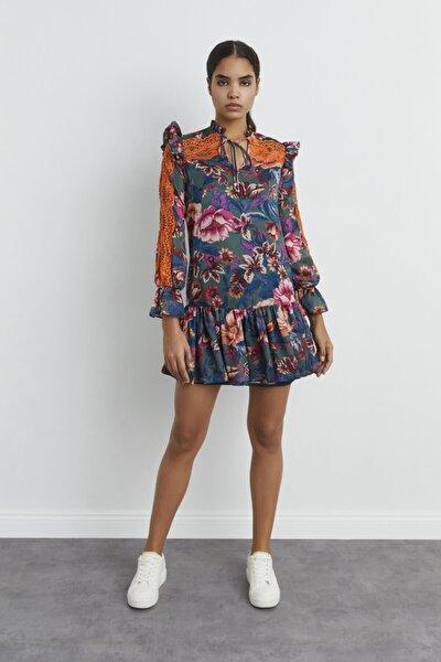 Kadın Emp.Ysl Dantel Detaylı Volanlı Elbise