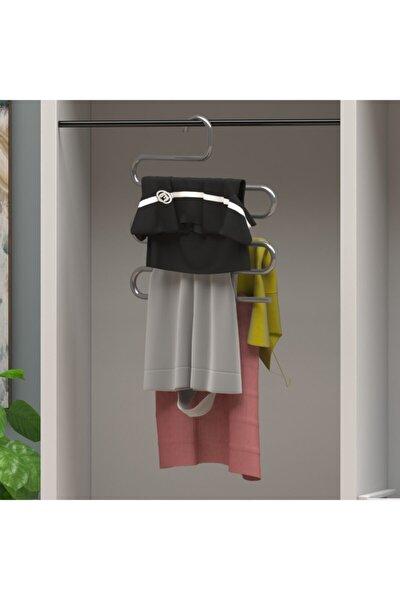 Metal Elbise Askılığı 5 Katlı Yer Tasarruflu Akıllı Pantolon Eşarp Askısı Paslanmaz Askılık