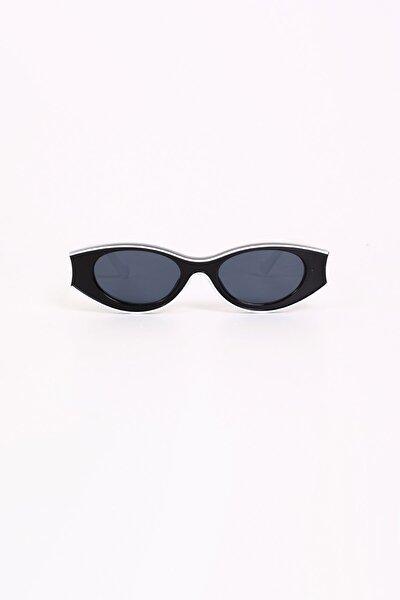 Olie Siyah Beyaz Oval Kemik Güneş Gözlüğü