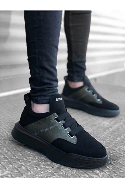 Ba0160 Bantlı Erkek Yüksek Taban Siyah Haki Spor Ayakkabı