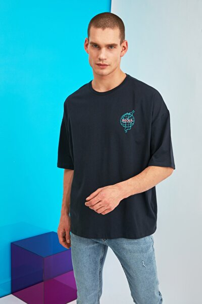 Lacivert Erkek Oversize Bisiklet Yaka Baskılı T-Shirt TMNSS21TS1219