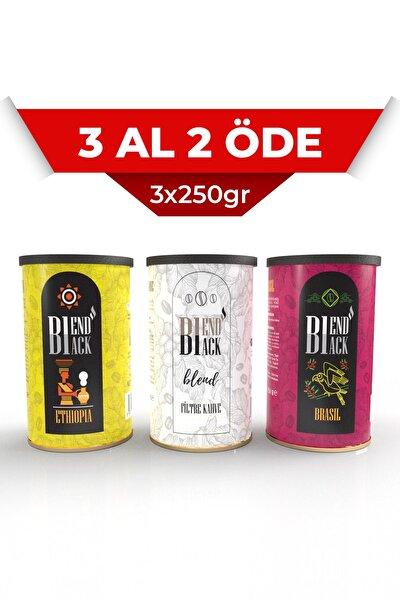 Filtre Kahve Yöresel 3x250gr Teneke Kutu (BLEND, ETHİOPİA, BRASİL)