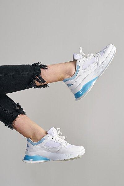 Kadın Beyaz Mavi Sneaker Ts1018