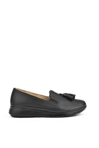 , Kadın Hakiki Deri Ayakkabı 111415 Z315002 Sıyah