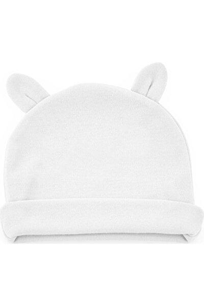 Yenidoğan Bebe Şapka Kulaklı 585 Beyaz