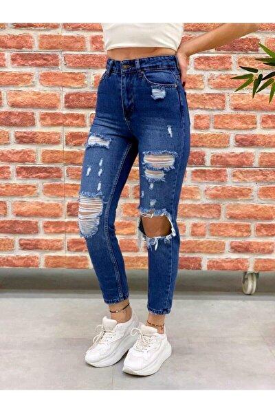 Mavi Mom Yüksek Bel Paperbag Yırtık Kot Pantolon Koyu