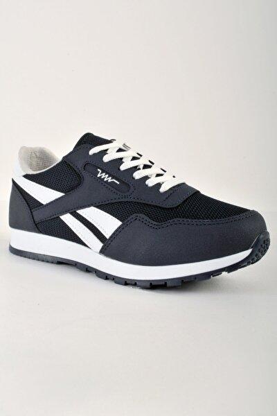 Unisex Ince Taban Beyaz Çizgili Lacivert Renk Günlük Kullanıma Uygun Spor Ayakkabı