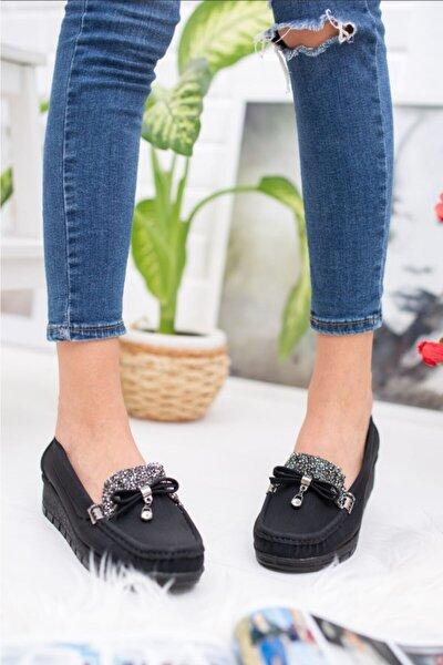 Kadın Siyah Ortopedik Taşlı Anne Ayakkabısı