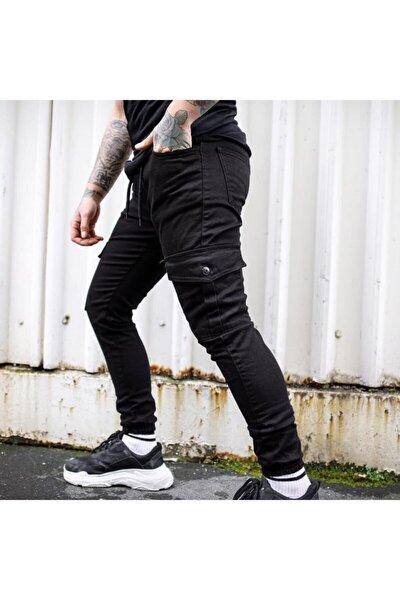 Erkek Sıyah Belı Ve Pacası Lastıklı Lıkralı Keten Kargo Pantolon