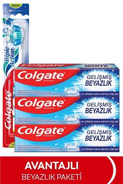 Gelişmiş Beyazlık Beyazlatıcı Diş Macunu 3 x 75 ml, Üçlü Etki Orta Diş Fırçası