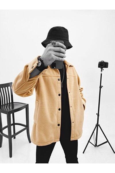 Erkek Bej Oversize Polar Gömlek Ceket