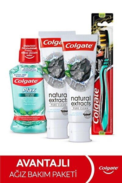 Natural Extracs Diş Macunu 75 ml x 2,  Zig Zag Orta Diş Fırçası, Plax Ağız Bakım Suyu 250 ml