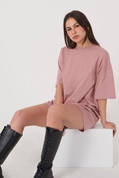 Kadın Gül Oversize T-Shirt P0731 - G6K7 Adx-0000020596