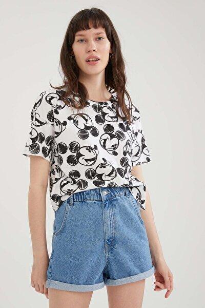 Coool Mickey Mouse Lisanslı Relax Fit Crop Tişört