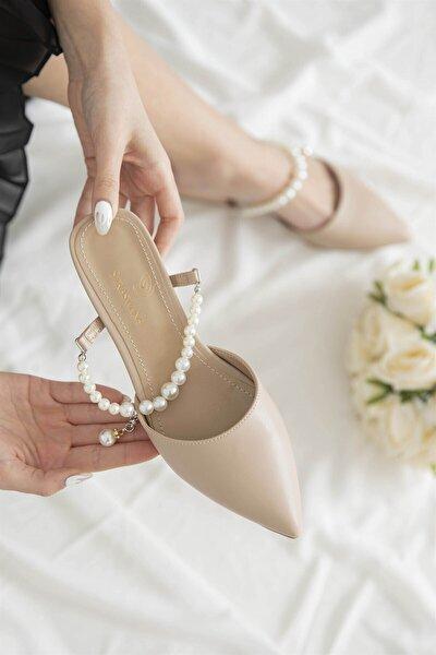 Kadın İnci Detay Topuklu Sandalet
