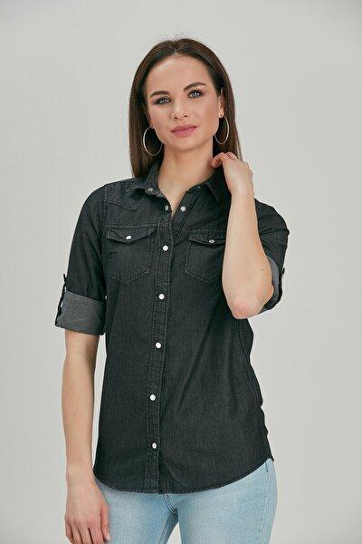 Kadın Kot Gömlek Siyah