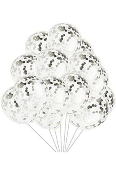 Gümüş Konfetili Şeffaf Balon Seti