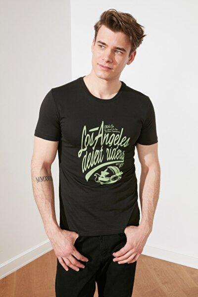Siyah Erkek Slim Fit Bisiklet Yaka Sıfır Kollu Baskılı T-Shirt TMNSS21TS1689