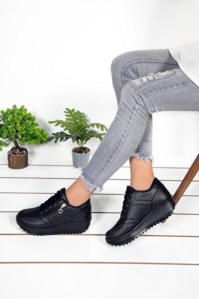 Kadın Siyah Cilt Spor Ayakkabım2574