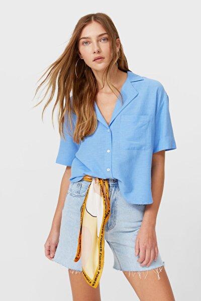 Kadın Mavi Kısa Kollu Gömlek