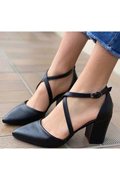 Kadın Siyah Cilt Çapraz Klasik Topuklu Ayakkabı